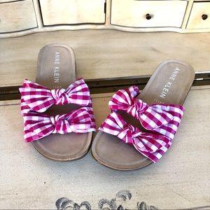 Anne Klein Flex Sandals Pink Gingham Bows Size 10